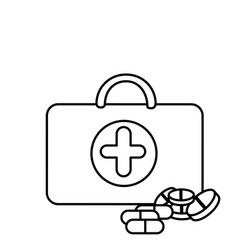 Silhouette suitcase health with treatment icon vector