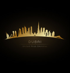 Golden logo dubai uae city skyline vector