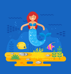 mermaid coral reef fish and sea life vector image
