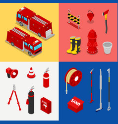Isometric fireman equipment with tank truck vector
