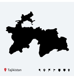 High detailed map of tajikistan with navigation vector