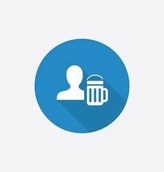 Man with beer glass flat blue simple icon with vector