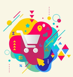 Shopping trolley on abstract colorful spotted vector