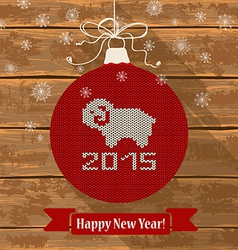 Knitted christmas ball with sheep vector