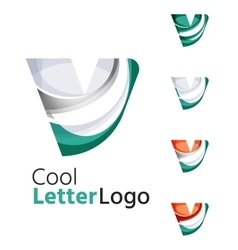 Set of abstract v letter company logos business vector
