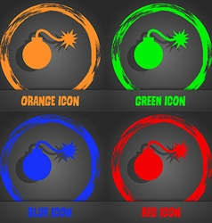 Bomb icon fashionable modern style in the orange vector