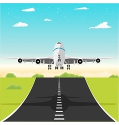Airplane taking off from the runway vector