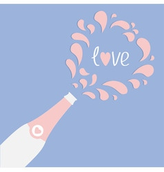 Love card champagne bottle heart explosion flat vector