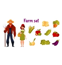 Farmers and set of vegetables vector