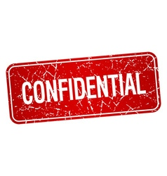 Confidential red square grunge textured isolated vector