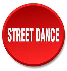 Street dance red round flat isolated push button vector