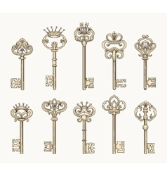 antique keys icon set vector image vector image
