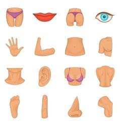 Body parts icons set cartoon style vector