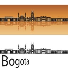 Bogota skyline in orange background vector