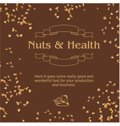 Brown background and ground nuts vector