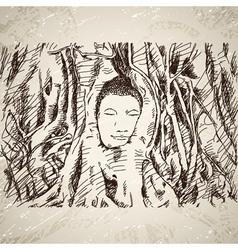 Buddha head in tree roots in Ayutthaya vector image