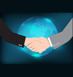business handshake eart background vector image