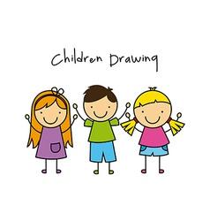 children drawing design vector image vector image