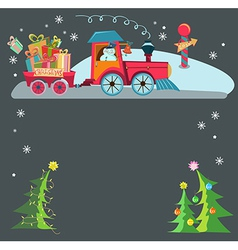 Christmas train vector image