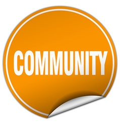 Community round orange sticker isolated on white vector