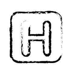 Contour symbol letter h icon vector