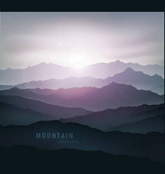 dark blue mountain landscape with fog vector image