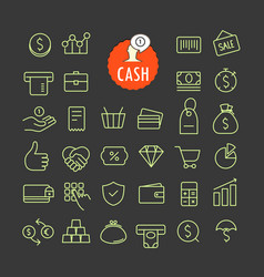 Different cash icons collection web and mobile vector