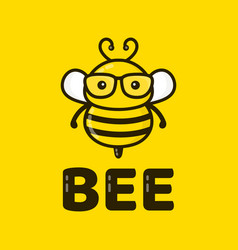 fun cute smart bee in glasses vector image vector image