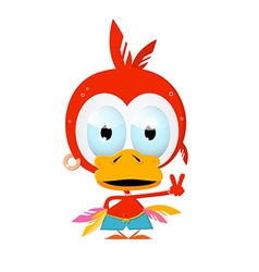 Funny Red Bird vector image vector image