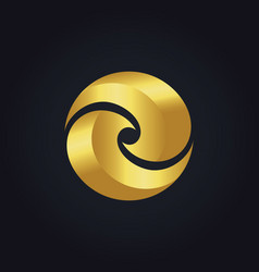 Gold circle round colored logo vector