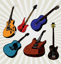 guitars colorful vector image vector image
