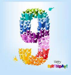 happy birthday card nine years vector image