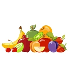 Heap of fruits isolated over white vector image vector image