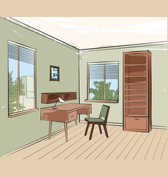 home interior work palce furniture with chair vector image vector image