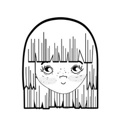 Line pretty girl face with hairstyle and vector