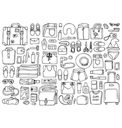 Man and Woman Travel Doodle Set vector image vector image