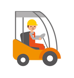 Man driving a delivery truck logistic working vector