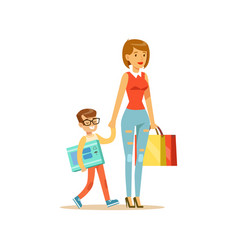 Mother and happy smiling son with shopping bags vector