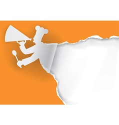 Paper Chef with megaphone vector image