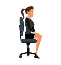 Pretty woman sitting chair office work vector