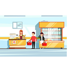 Saleswoman in supermarket interior people vector