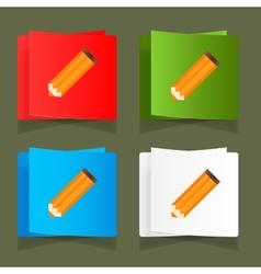 Set of simple icons pencil orange eps vector image vector image