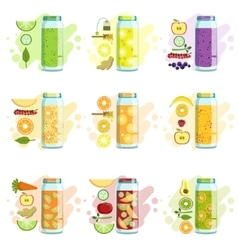 Smoothie recipe set vector