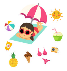 Summer beach set vector