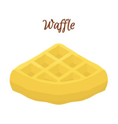 Sweet belgian waffle for breakfast cartoon style vector