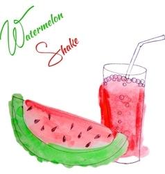 Watercolor watermelon shake vector
