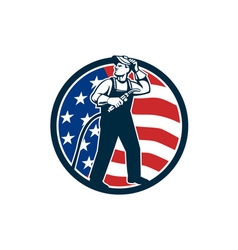 Welder Standing Visor Up USA Flag Circle Retro vector image