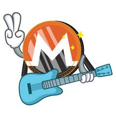 With guitar monero coin character cartoon vector