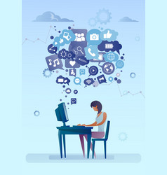 Woman using computer with chat bubble of social vector
