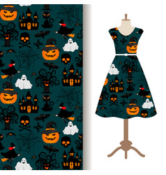 Womens dress fabric with halloween pattern vector